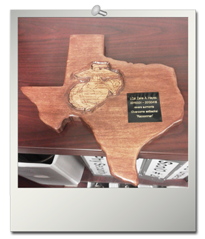 Texas plaque with Marine Corps EGA